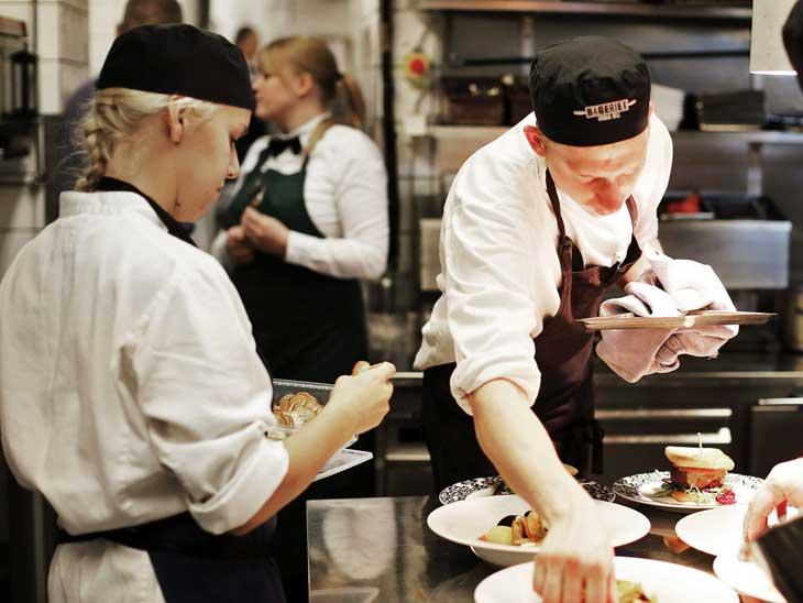 Chefs at work at Eriks Bakficka, Östermalm.