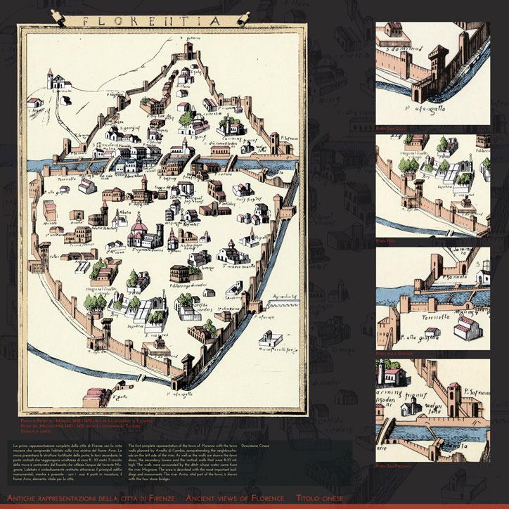 le mura di firenze tavola espositiva antiche rappresentazioni