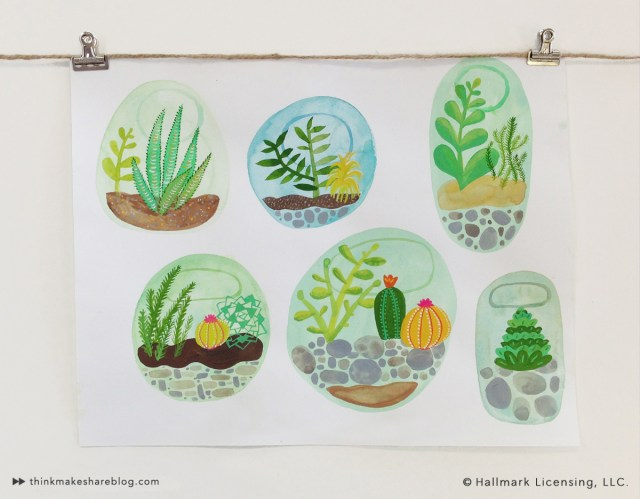 Cactus Watercolor by Sarah Walsh | thinkmakeshareblog.com