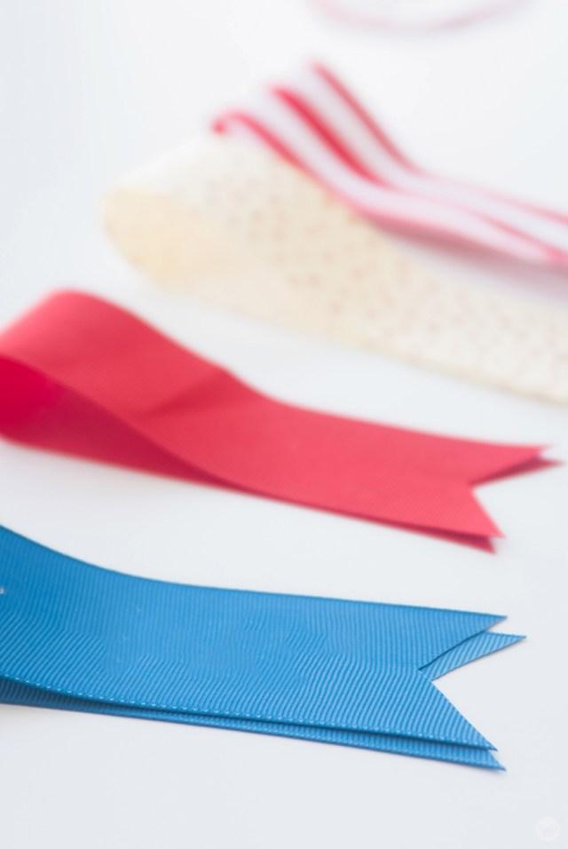 Ribbons cut and ready to make a July 4th Ribbon Garland.