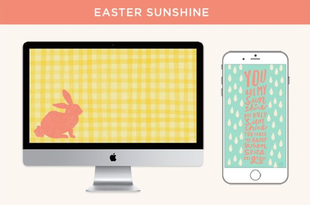 "Orange bunny silhouette on yellow gingham background displayed on desktop scree; ""you are my sunshine"" lyrics lettered on raindrop background displayed on mobile device"