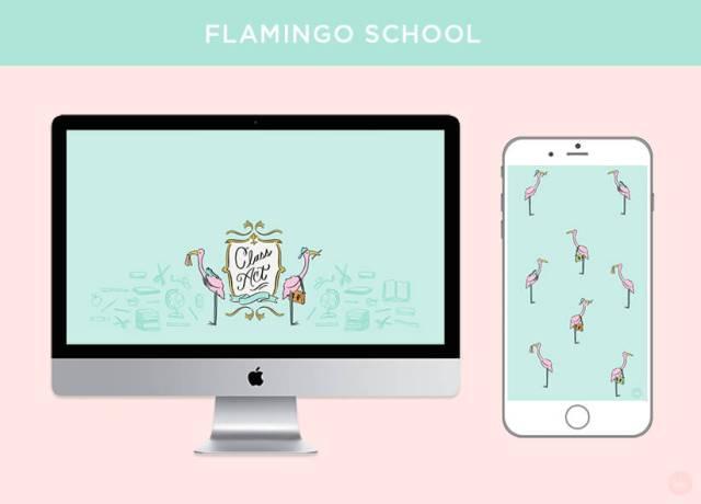 FREE AUGUST 2018 DIGITAL WALLPAPERS class act flamingo school art