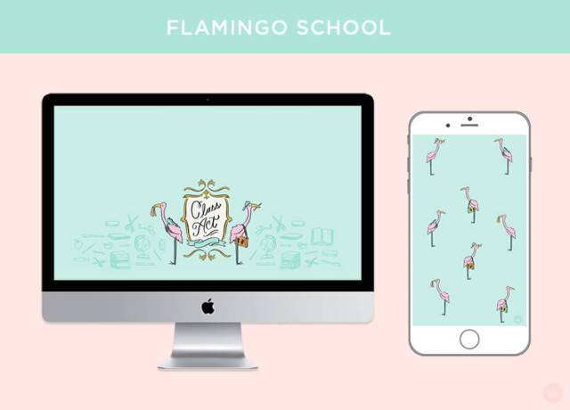 FREE AUGUST 2018 DIGITAL WALLPAPERS class act flamingo school art