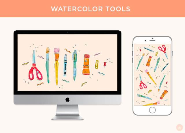 FREE AUGUST 2018 DIGITAL WALLPAPERS watercolor school supplies art