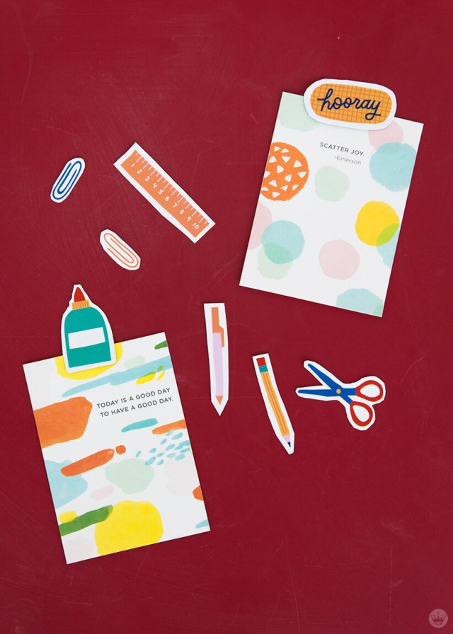 Back to school magnets with Studio Ink cards | thinkmakeshareblog.com