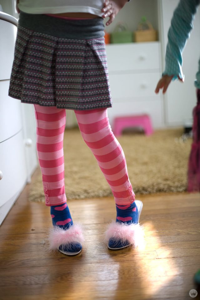 Back-to-school picture ideas: outfit photo of leggings and faux fur heels