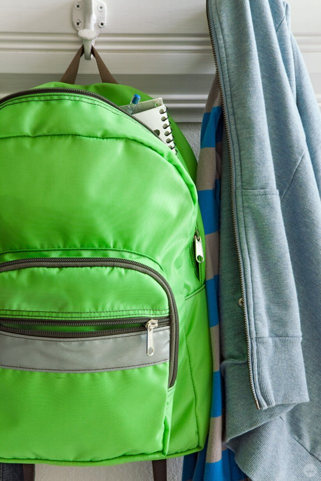 Back-to-school picture ideas: backpack hanging on hook