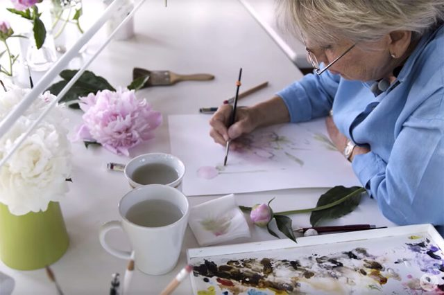 Marjolein Bastin paints in her home studio