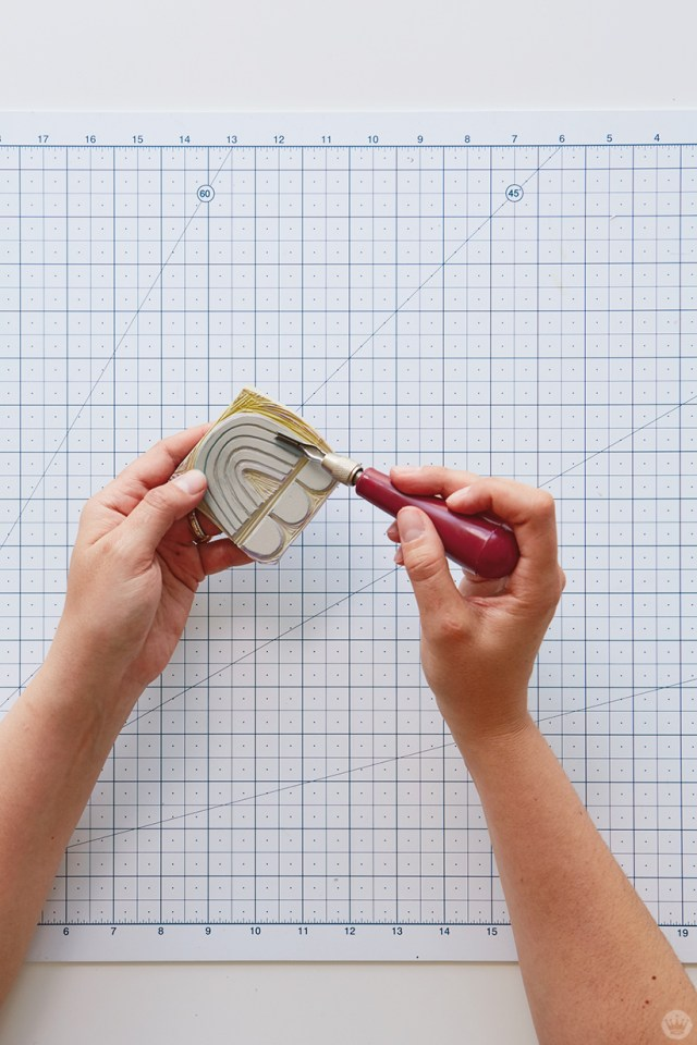 Block print gifts: Carving a design into a linoleum block