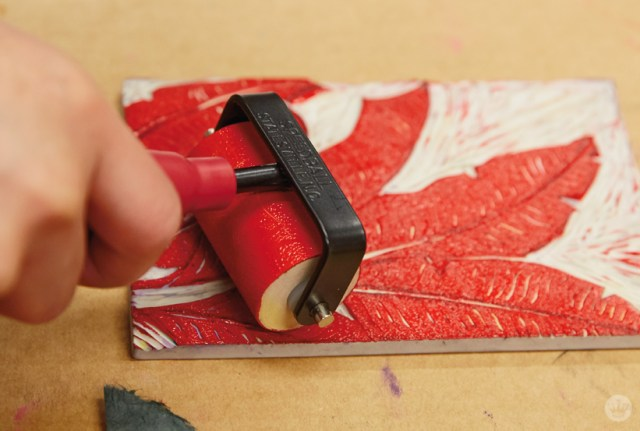 Adding Ink To A Linoleum Stamp With Brayer