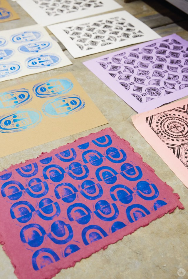 Repeated pattern designs from a Hallmark block printing basics workshop