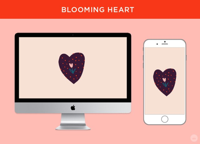 Blooming Heart: free February 2018 digital wallpapers