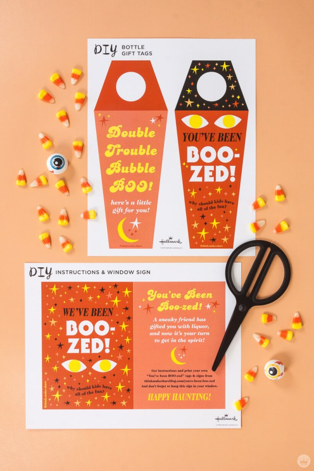 Free printable YOU'VE BEEN BOO-ZED bottle tags and window signs