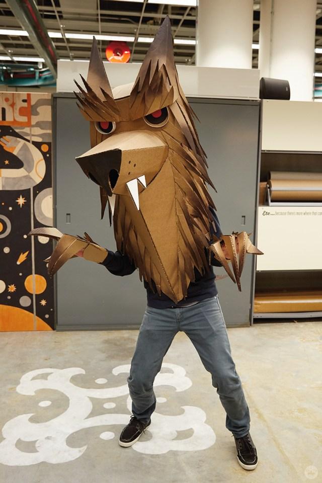 Hallmark artists explore cardboard Halloween costume ideas. Matt K makes a wolf.