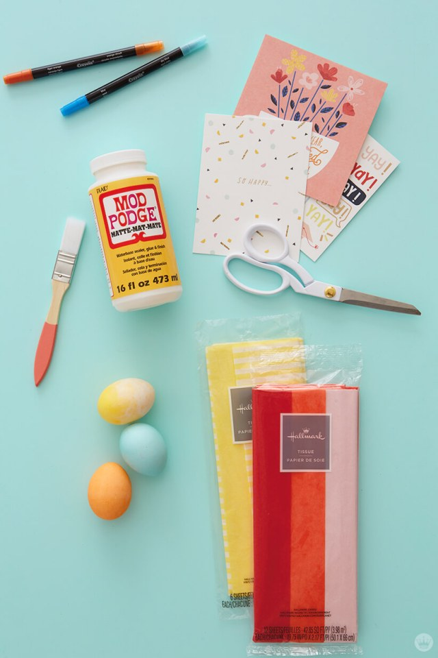 Supplies for making confetti-filled eggs| thinkmakeshareblog.com