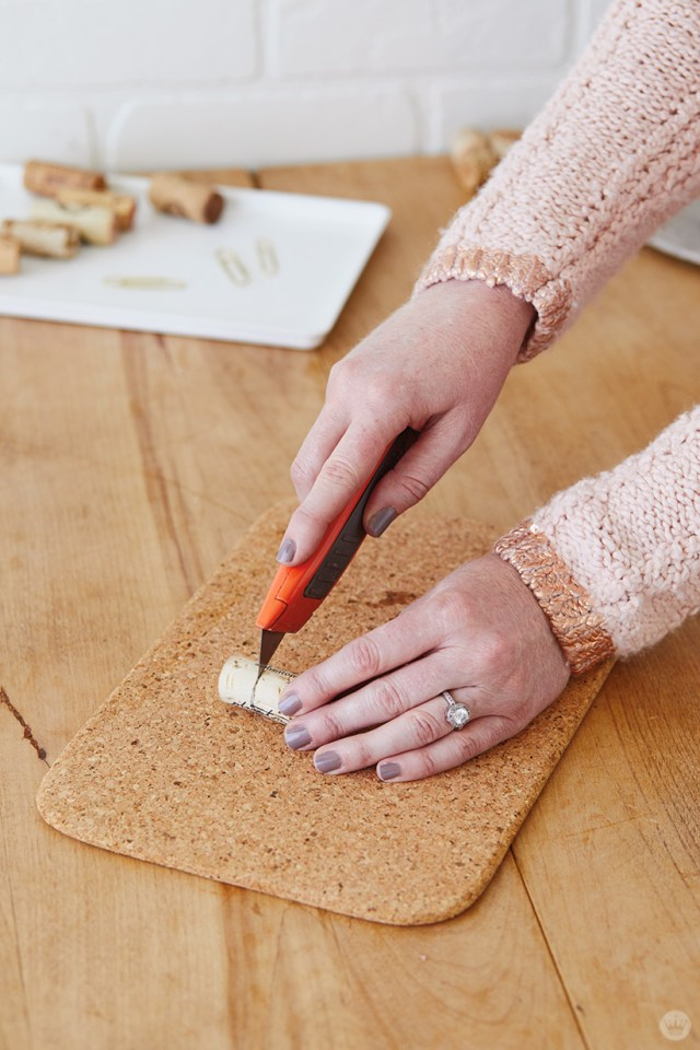 Fitting a cork for Candlestick Christmas card holders