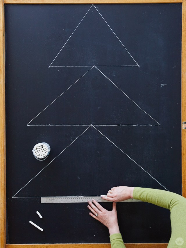 Drawing a tree on the Chalkboard Holiday Card Display