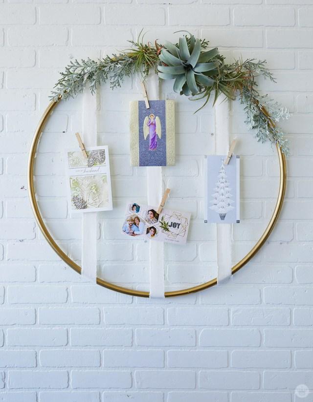 Gold Hoop Christmas Card Display