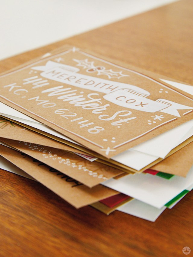 Christmas Card Challenge: stack of envelopes ready to mail