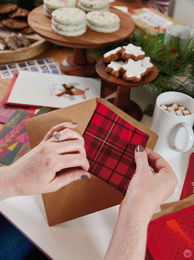 Adding a gift wrap liner to an envelope