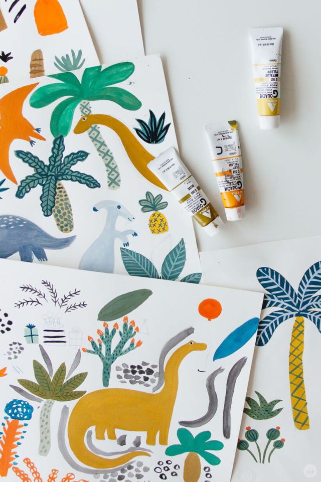 Colin W. colorful illustrations for the Dinos and Botanicals collection from Hallmark Baby