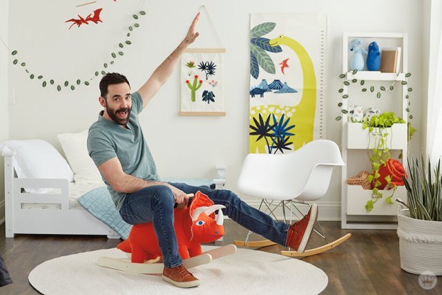 Colin W. rides the Dinosaur Rocker from the Dinos & Botanicals collection from Hallmark Baby