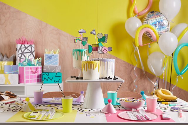 Retro party decorations with balloons and gift table