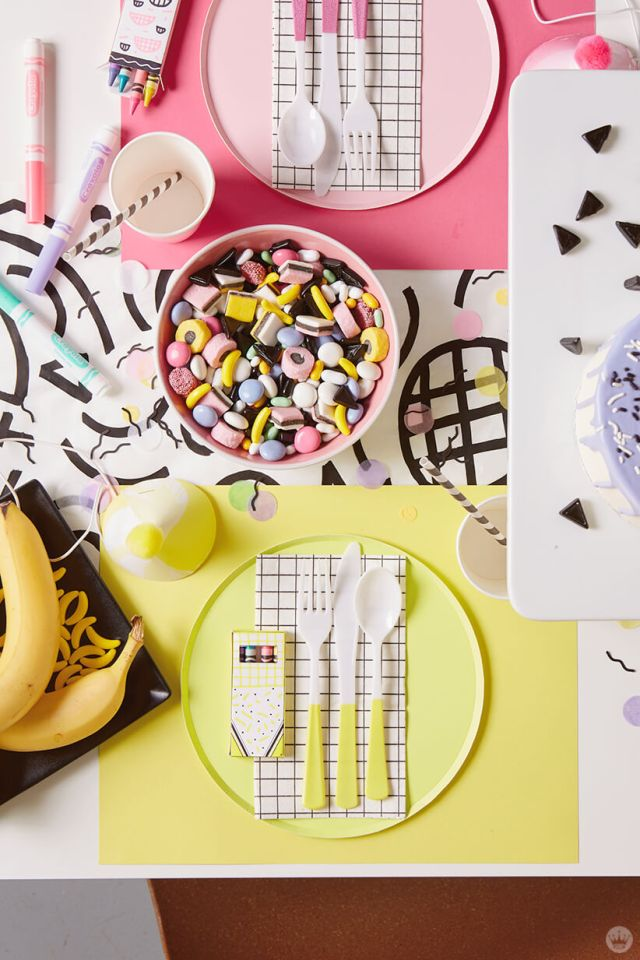 Retro party place setting and treats