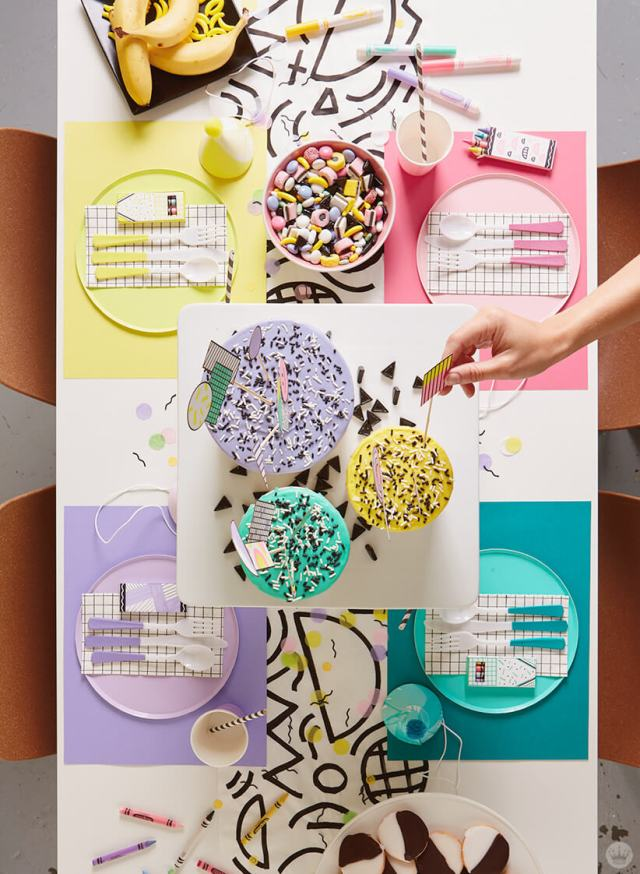 Retro party decorations—dinner table