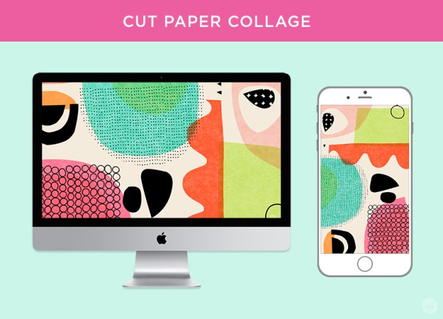 Cut paper collage digital wallpapers