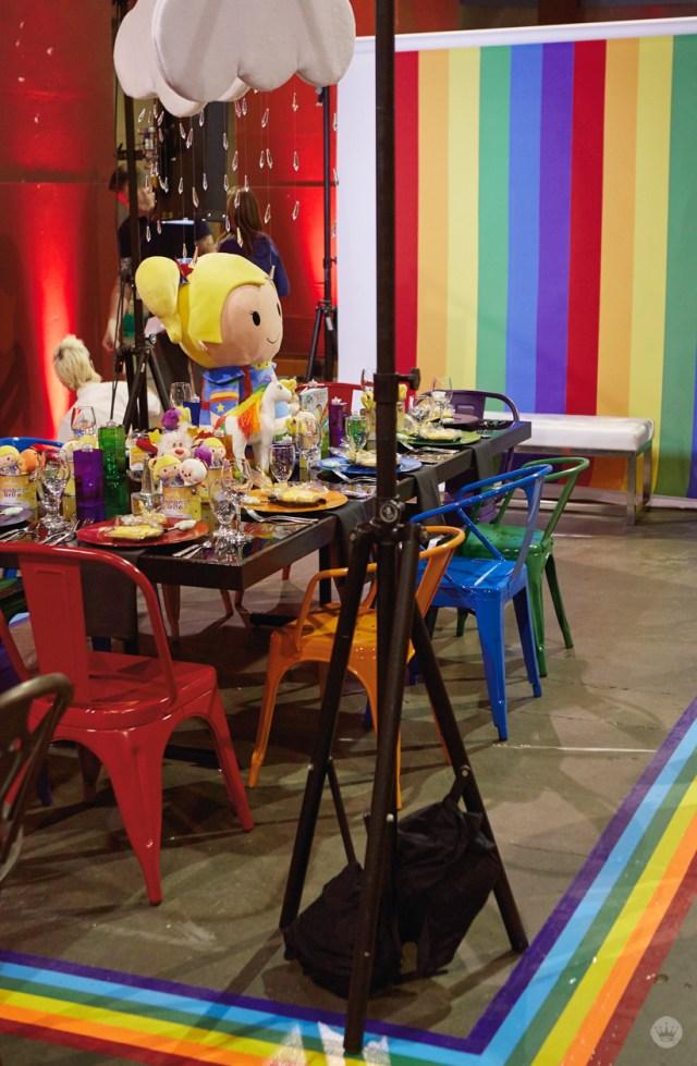 DIFFA KC Rainbow Brite table prep | thinkmakeshareblog.com