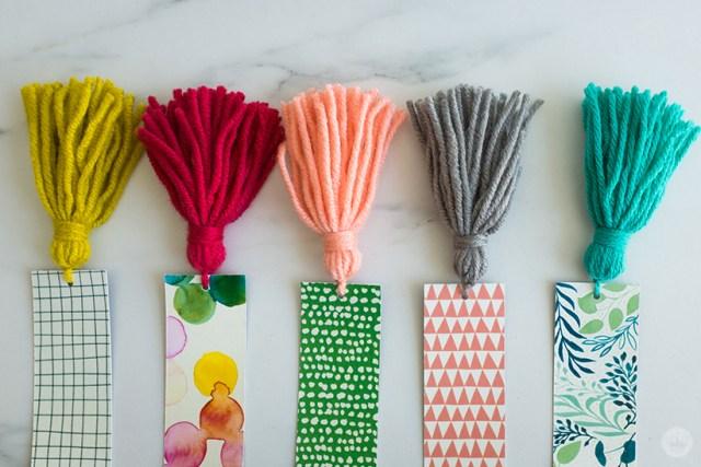 Five completed DIY Tassel Bookmarks