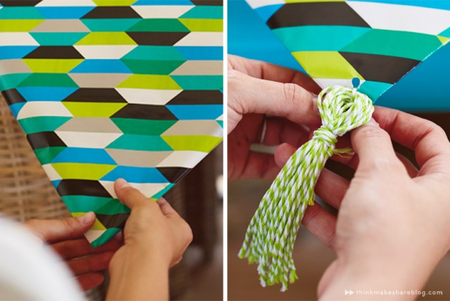 DIY Fathers Day table runner tassel with gift wrap products | thinkmakeshareblog.com