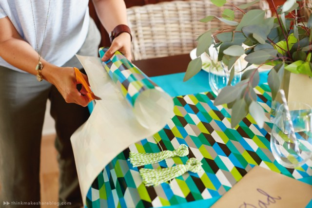 DIY Fathers Day tabletop with gift wrap products | thinkmakeshareblog.com