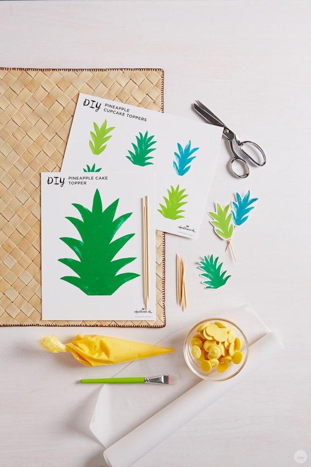 Supplies for ombré brush stroke pineapple cake