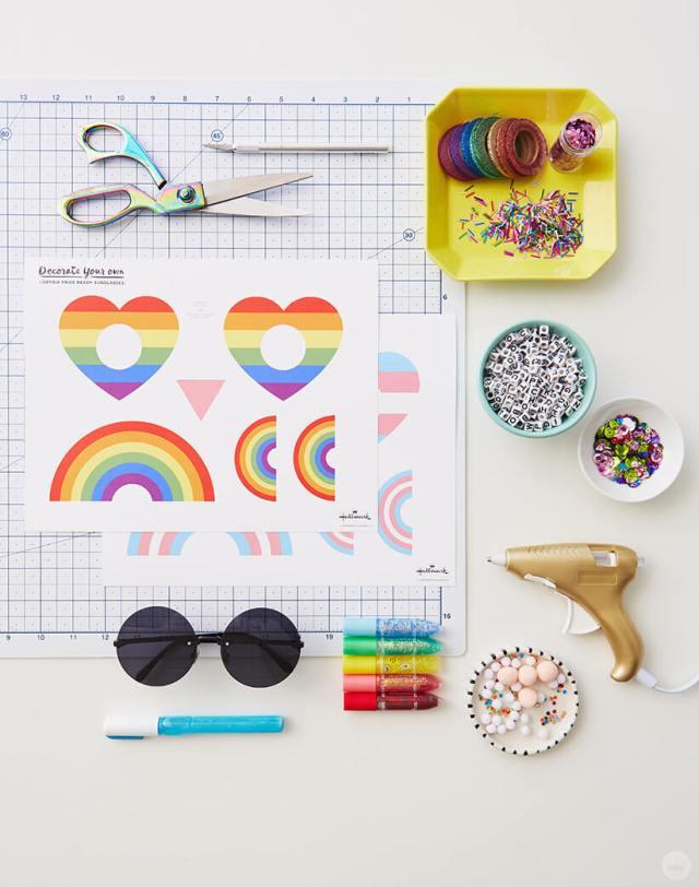 Supplies for the DIY Pride Sunglasses | thinkmakeshareblog.com