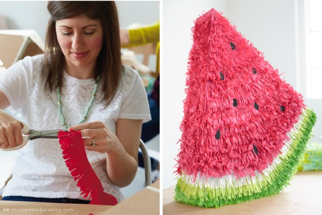 DIY Summer Pinatas | Watermelon | thinkmakeshareblog.com