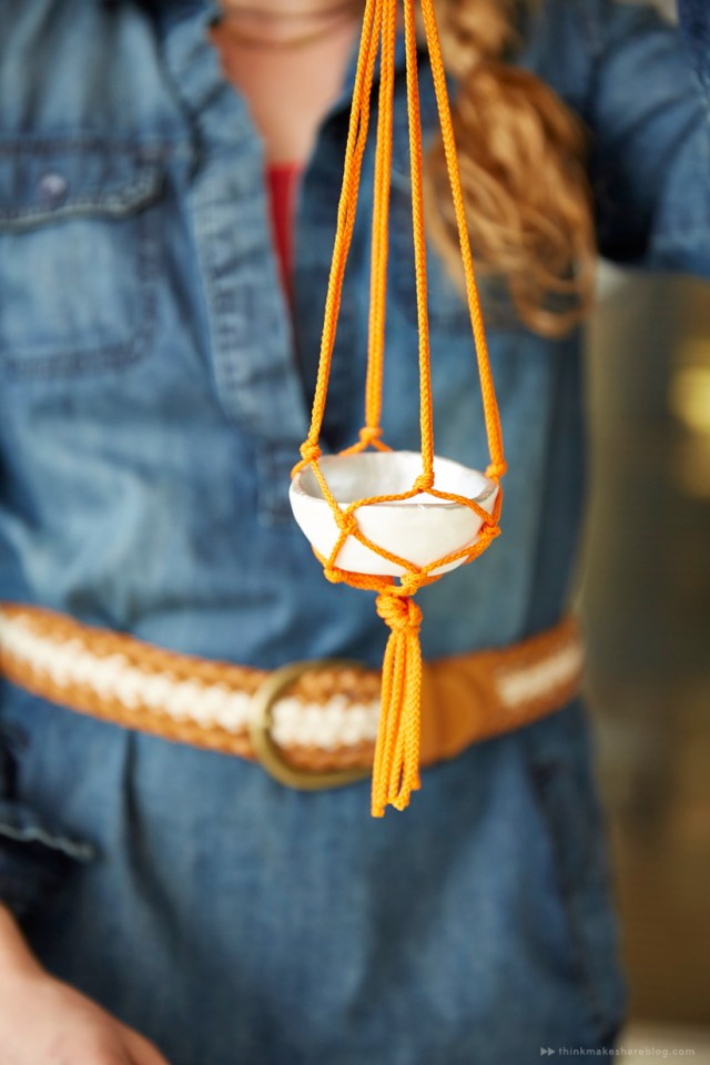 Spend Mother's Day time together by making mini macrame plant hangers with pinch pots