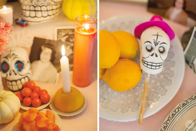 Objects and photos on a Day of the Dead altar