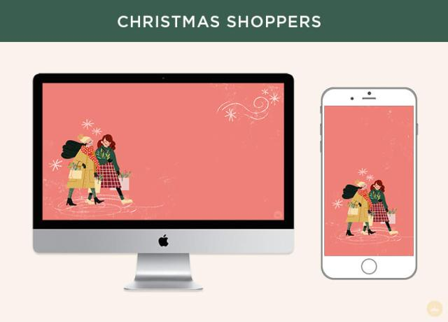Free December 2018 digital wallpapers: Christmas Shoppers