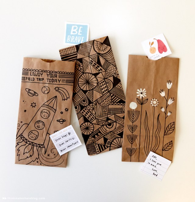 Dress up your lunch bags with playful designs | thinkmakeshareblog.com