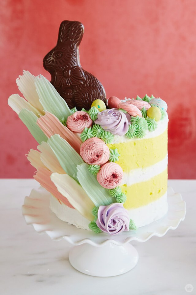 Easter cake ideas with stripes and chocolate bunnies