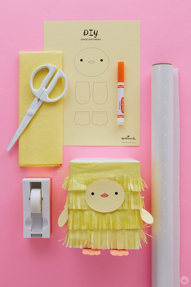Kids Easter Gift Wrap Ideas: Tissue paper chick supplies