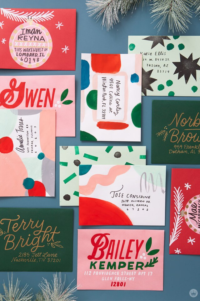 Christmas mail art addressed in four different styles. | thinkmakeshareblog.com