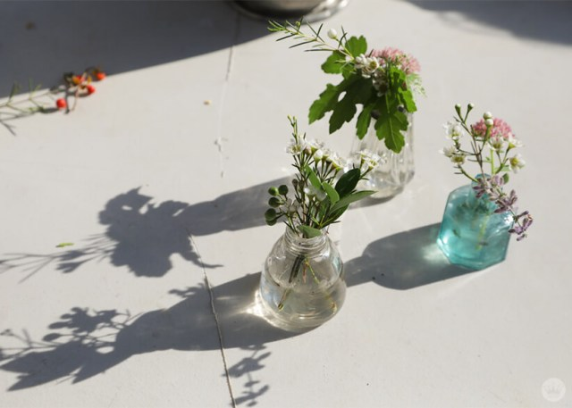 Flowers in small vases