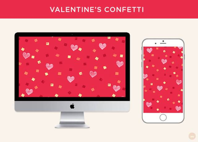 Free February 2019 digital wallpapers: Valentine's Confetti | thinkmakeshareblog.com
