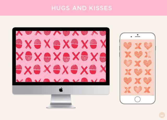 Free February 2019 digital wallpapers: Hugs and Kisses   thinkmakeshareblog.com