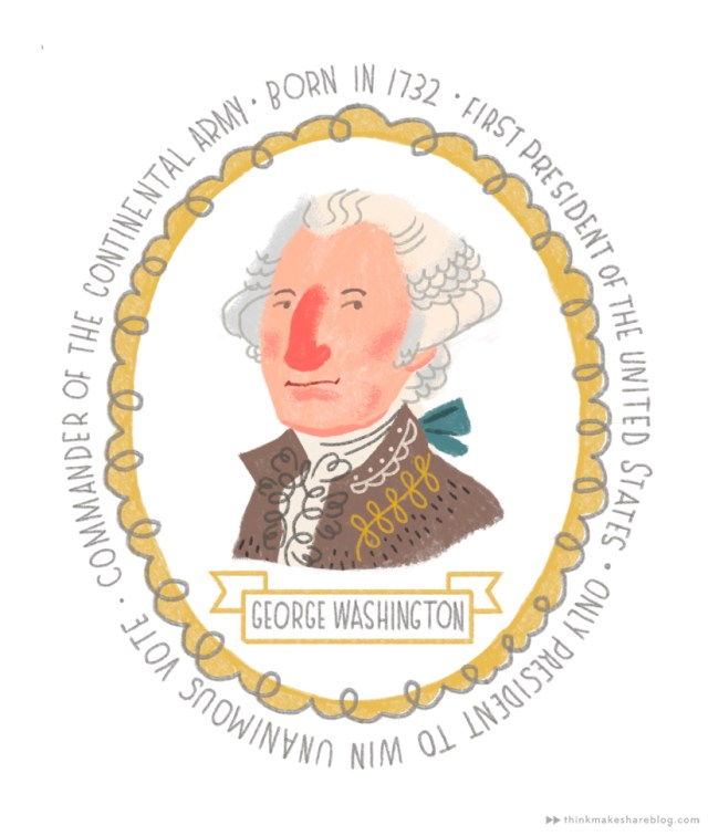 Founding Fathers as illustrated by Hallmark artist Charlie Hadley | thinkmakeshareblog.com