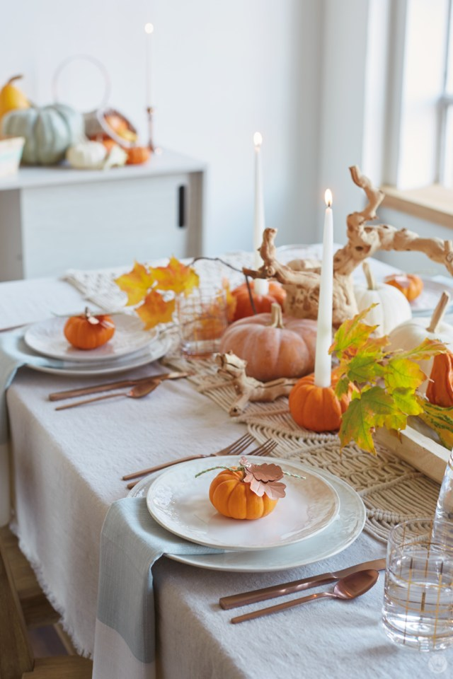 Table setting with small pumpkins as place cards