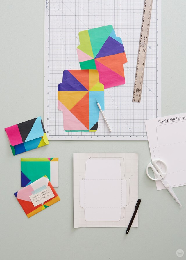 Easy mail art ideas: Envelopes made of wrapping paper.